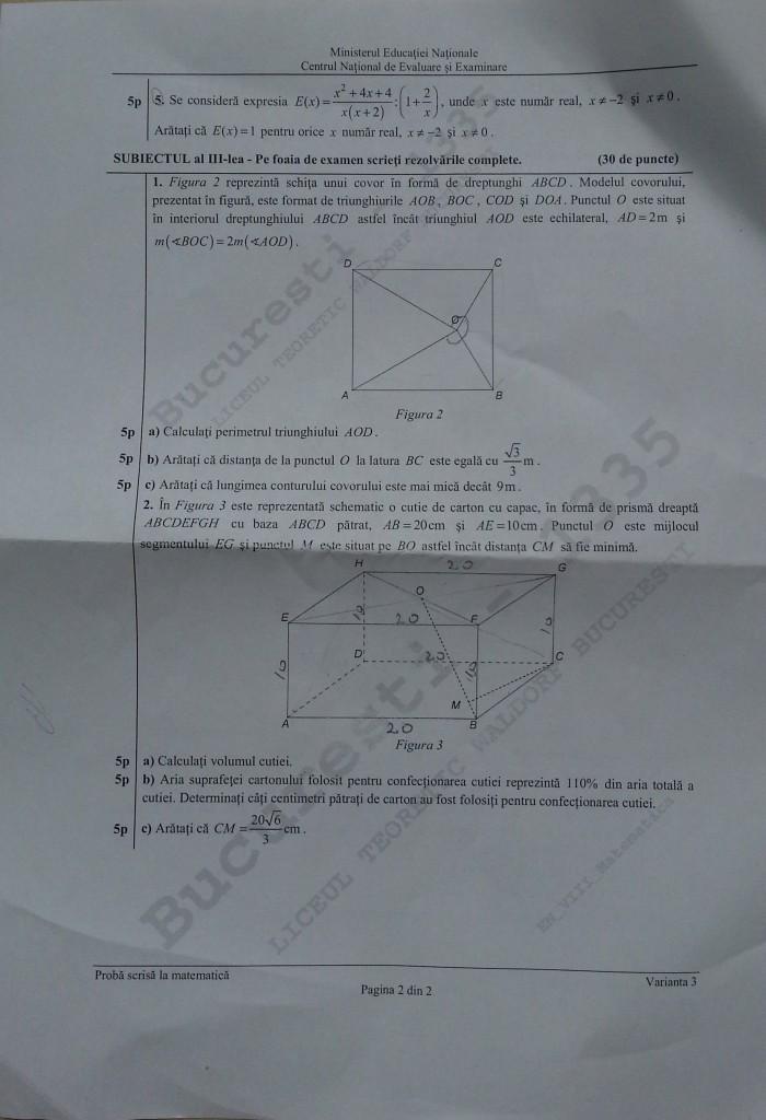 pagina 2 matematica testare nationala