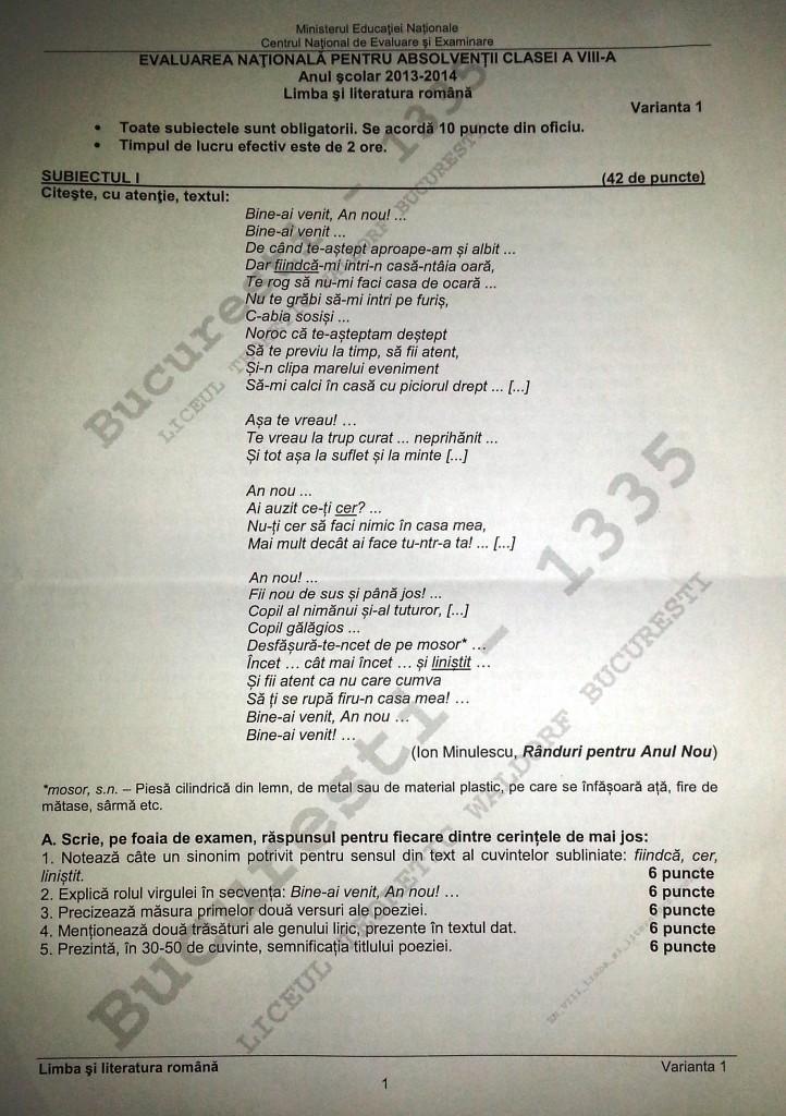 subiecte evaluarea nationala pagina 1